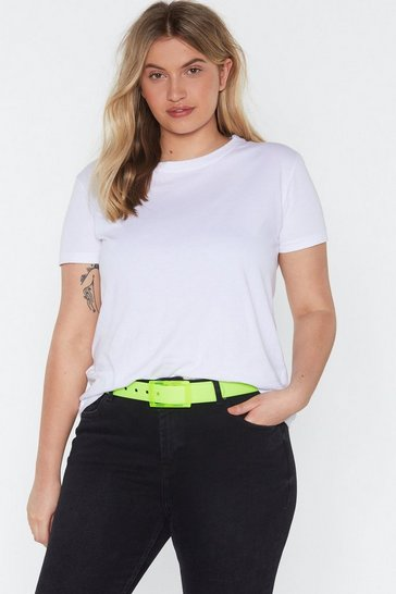 Womens Yellow All Eyes Neon You Clear Buckle Belt