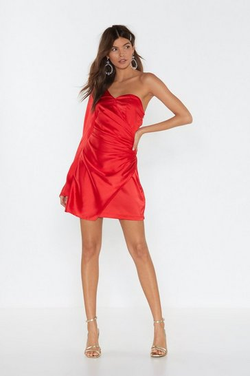 Red Dancing On My Own One Shoulder Satin Dress