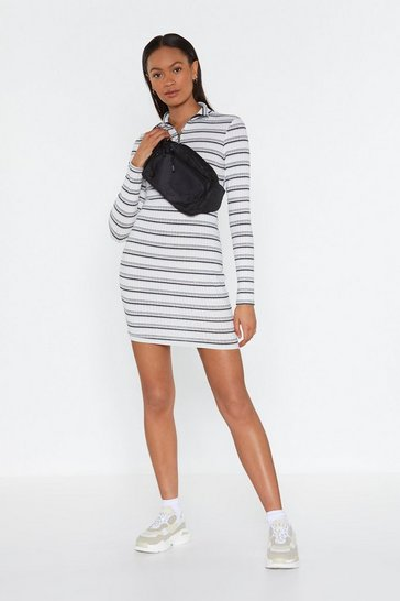 Womens White Lucky Stripe Zip Mini Dress