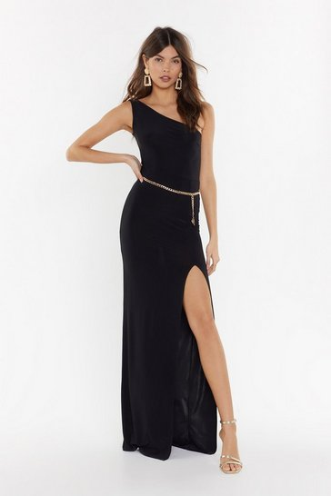 Womens Black Rise to the Occasion One Shoulder Maxi Dress