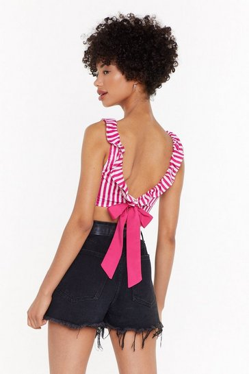 Womens Pink Candy Coated Satin Crop Top