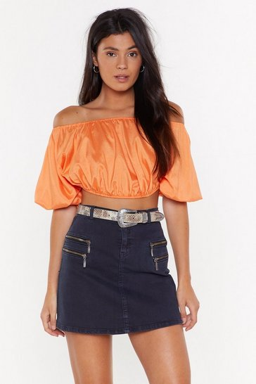Womens Black If You Didn't Bow Puff Sleeve Crop Top
