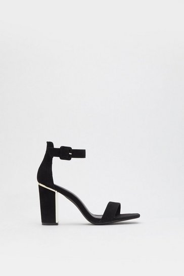 Womens Black You Trim Some Strappy Heels