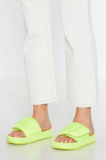 Womens Yellow Let It Slide Padded Velcro Sliders