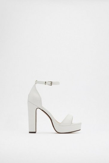 White On the Rise Platform Heels