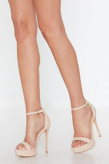 Womens Nude Platform Stiletto 2 Part Heels