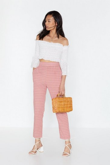 Womens Pink My Check of the Woods Tapered Pants