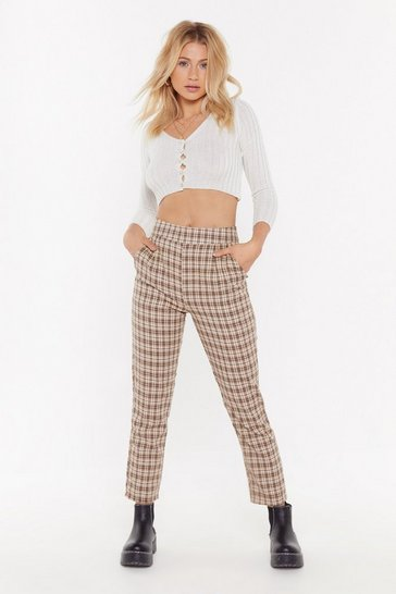 Beige Check Print Tapered Pants with High-Waist