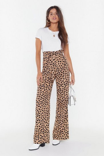 Womens Taupe Spot Animal Paperbag Pants