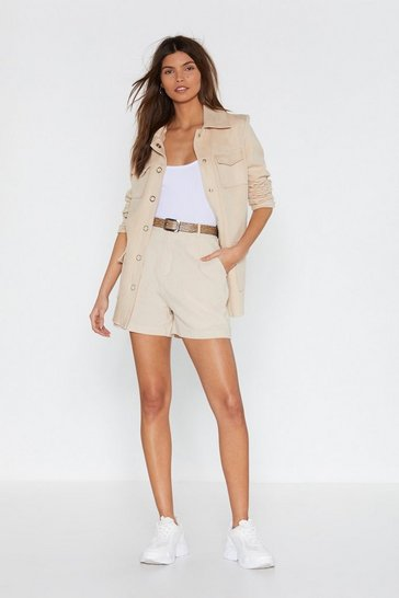 Womens Ecru Linen Tailored Shorts