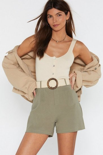 Womens Sage Linen Tailored Shorts