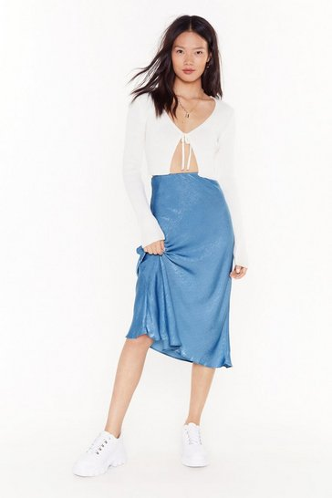 Womens Mid blue Sleek Havoc Bias Cut Satin Skirt
