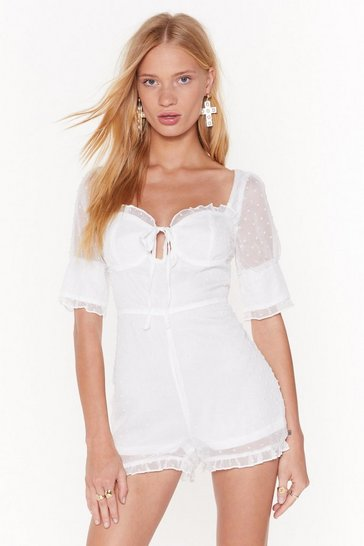 Womens White Frill Got Time Cupped Playsuit