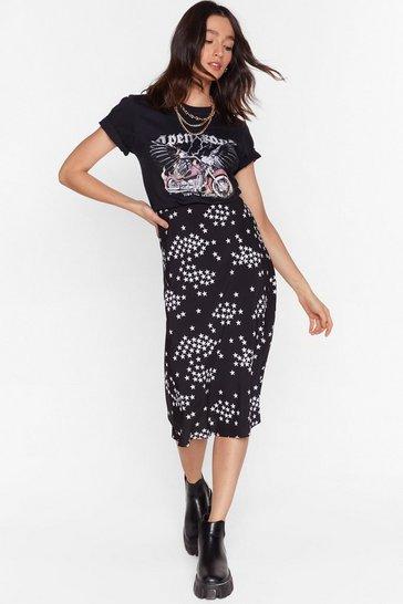 Black Shooting Star Bias Cut Midi Skirt