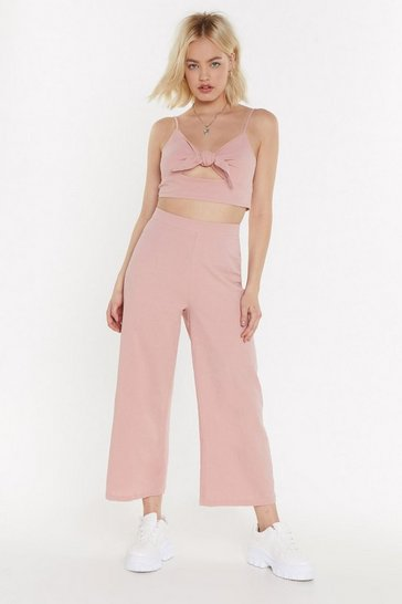 Womens Light pink 2 Become 1 Tie Top and Trousers Set