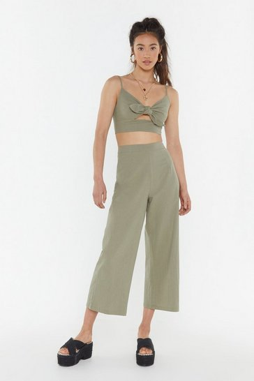 Womens Sage 2 Become 1 Tie Top and Trousers Set