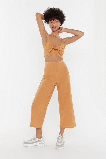 Womens Tan 2 Become 1 Tie Top and Trousers Set