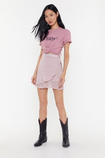 Womens Pink Star-t As You Mean to Go On Wrap Mini Skirt