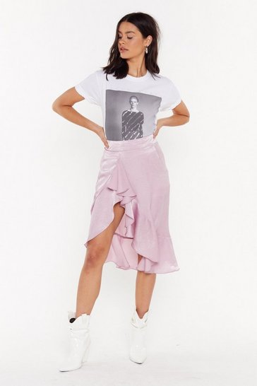 Womens Dusky pink Go in For the Frill Ruffle Midi Skirt
