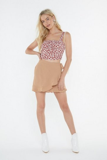Camel Where's the Summer Wrap Ruffle Mini Skirt