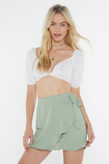Womens Sage Ruffle Wrap Skirt