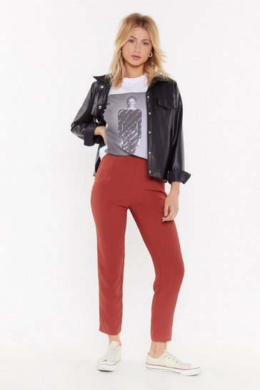 Womens Terracotta No More Time to Waist Tapered Pants
