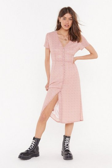 Womens Pink Can't Stop Floral Midi Dress