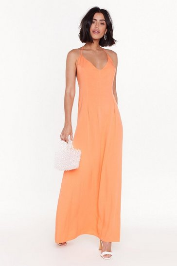 Womens Orange Heading to Strappy Hour Halter Maxi Dress