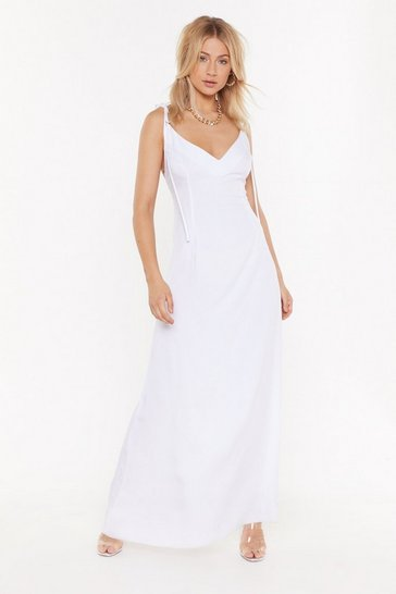 Womens White Heading to Strappy Hour Halter Maxi Dress