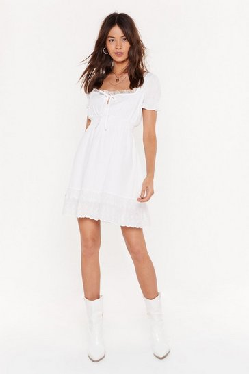 Womens White Mesh Assured Square Neck Mini Dress