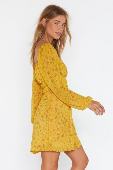 Womens Mustard Flower Hungry Square Neck Mini Dress