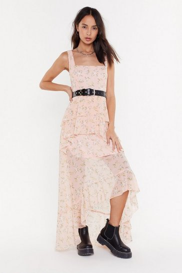 Womens Pink I'll Be-leaf It Floral Maxi Dress
