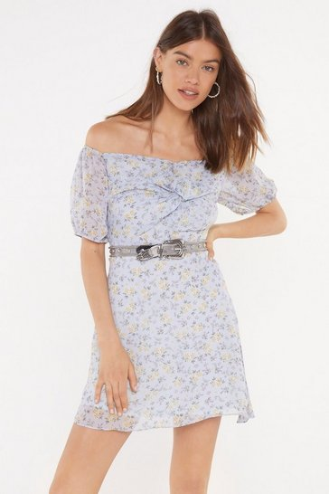 Womens Blue Love Buzz Floral Off-the-Shoulder Dress