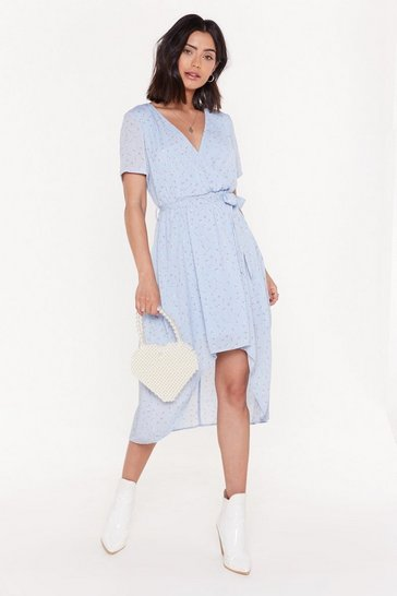 Blue Short Sleeve Tie Floral Midi Dress