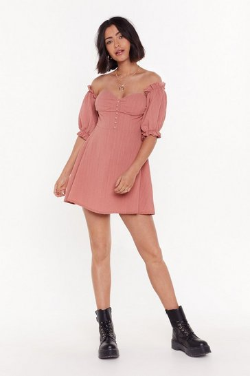 Womens Rose Sunset Flip Off-the-Shoulder Mini Dress