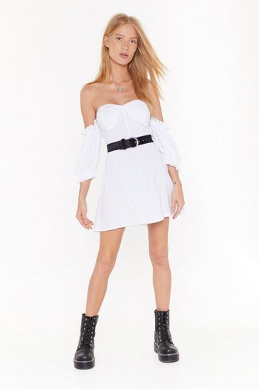 Womens White Sunset Flip Off-the-Shoulder Mini Dress