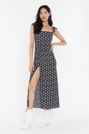 Womens Black Let's Shake Slit Up Floral Maxi Dress