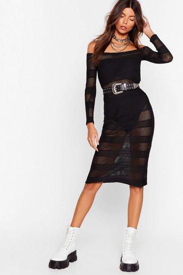 Black Stop Stripe Now Mesh Midi Dress