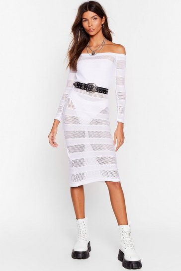 White Stop Stripe Now Mesh Midi Dress
