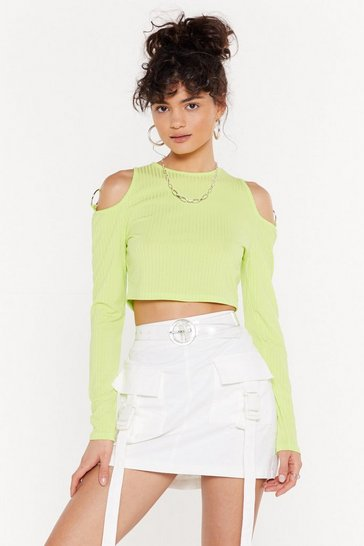 Womens Neon-green O-Ring the Energy Ribbed Top