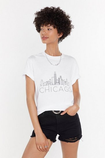 Womens White Chicago Relaxed Graphic Tee