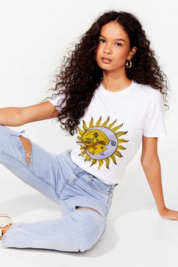 White Sun and Moon Graphic T-Shirt with Crew Neckline