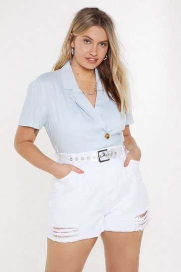 Womens Light blue Linen Short Sleeve Shirt