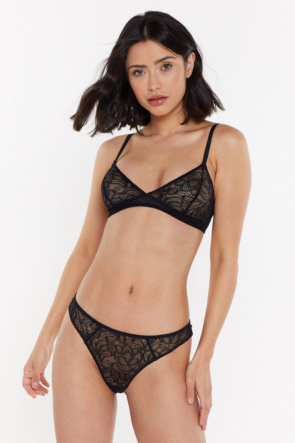 Lace The Music Floral Thong by Nasty Gal