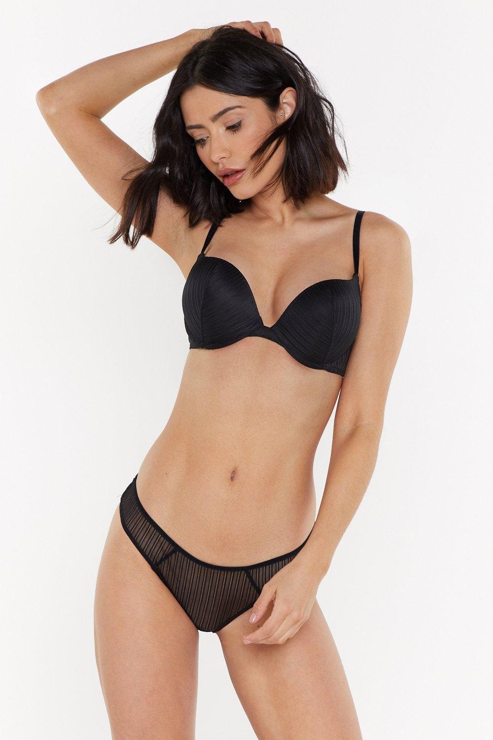 Mix &Amp; Match Stripe Lace Super Push Up Bra by Nasty Gal