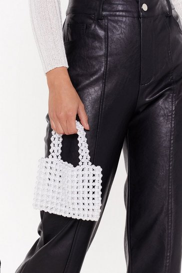 Womens White WANT Big Pearls Don't Cry Beaded Bag