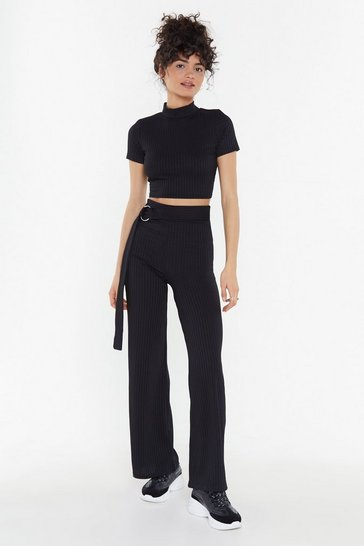 Womens Black Let's Get Together Ribbed Top and Trousers Set