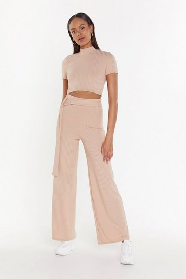 Womens Stone Let's Get Together Ribbed Top and Trousers Set
