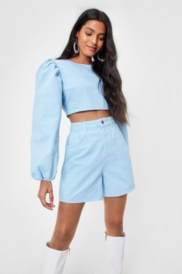 Baby blue In High Spirits Denim Mom Shorts