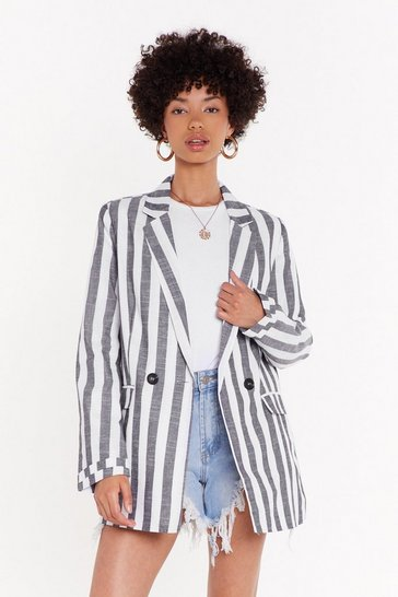 Womens Grey Stripe Linen Blazer